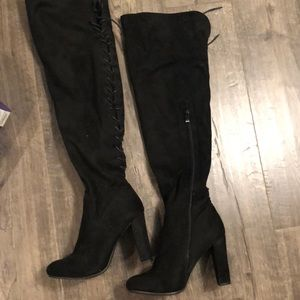 High knee black suade lace up boots